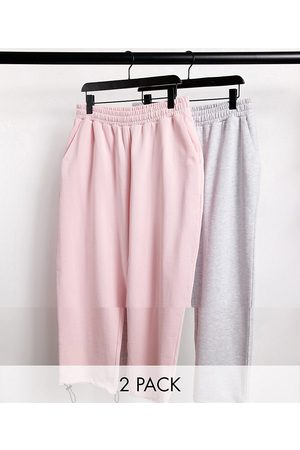 ASOS Super oversized joggers 2 pack in pink/white marl with toggle hem-Multi