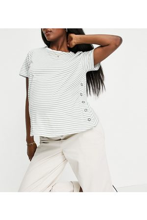 ASOS ASOS DESIGN Maternity nursing popper side t-shirt in khaki stripe-Green