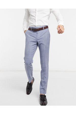 ASOS Wedding skinny suit trousers in navy crosshatch