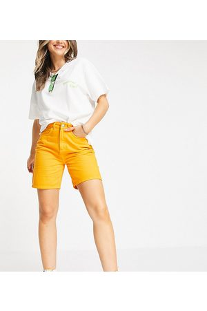 Reclaimed Inspired relaxed dad denim shorts in orange wash