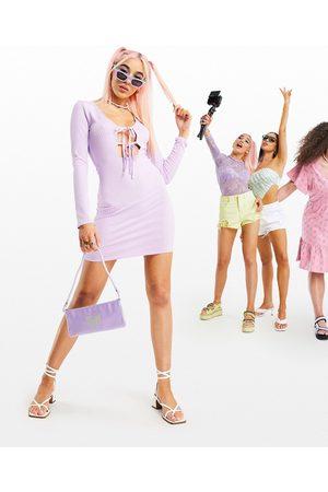 ASOS Tie front rib skinny sleeve mini dress in lilac-Purple