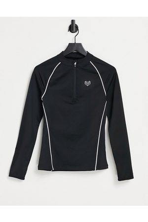Pink Soda Sport Tanice 1/4 zip long sleeve top in black-Blue