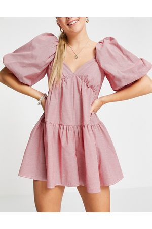 ASOS Puff ball playsuit in red gingham-Multi