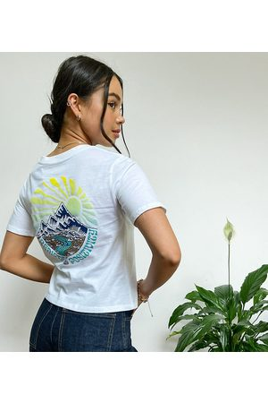Element Positivity crop back print t-shirt in white Exclusive at ASOS