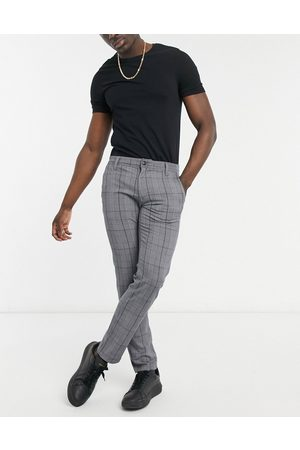SELECTED Stretch jersey smart trousers in slim fit grey check