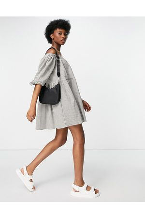 ASOS Off shoulder tiered mini dress with tie sleeves in khaki gingham-Multi