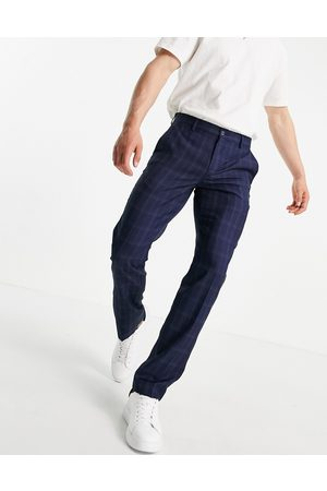 French Connection Herre Chinos - Slim fit mini check trousers-Blue