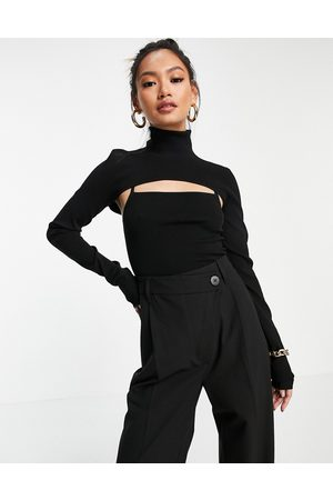 & OTHER STORIES 2 piece cut-out knit top in black