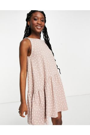 ASOS Sleeveless smock dress with v back in mink and white spot-Pink