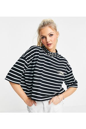 Quiksilver 90 cropped striped t-shirt in black Exclusive at ASOS