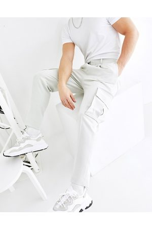 ASOS Tapered smart trousers with cargo pockets in light grey