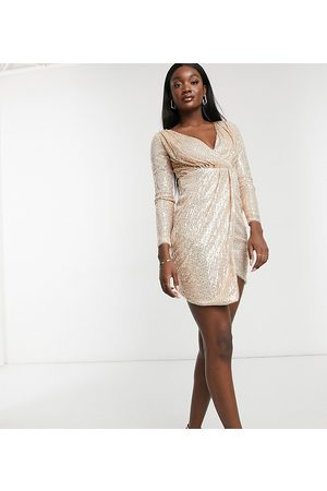 Jaded Rose Wrap drape sequin mini dress with open back in rose gold