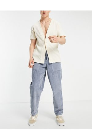ASOS Chunky cord trousers in balloon fit in grey