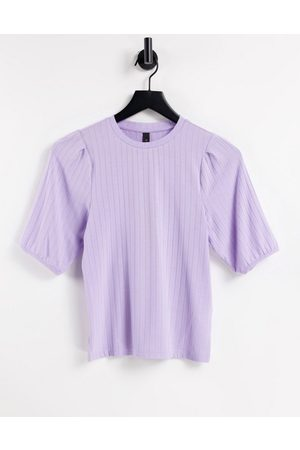 Y.A.S . 3/4 sleeve ribbed jersey top in lilac-Purple