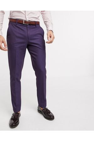 ASOS Wedding skinny wool mix suit trousers in soft berry twill-Red