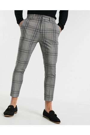 New Look Skinny cropped smart trousers in grey check