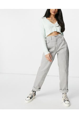 ASOS High rise 'slouchy' mom jeans in grey