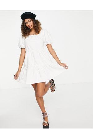 Urban Bliss Smock mini denim dress in ecru-White
