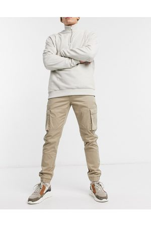 Only & Sons Cuffed cargo trousers in slim fit stone-Neutral