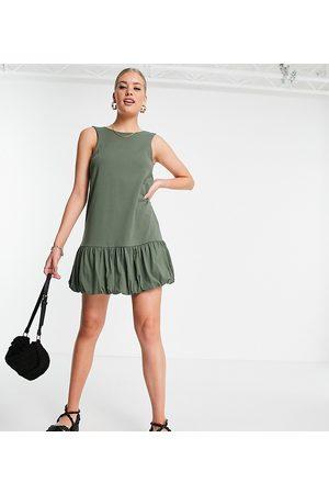 ASOS Tall bubble hem v back sleeveless dress in khaki-Green