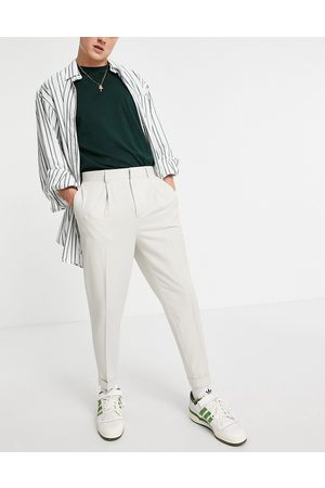 ASOS Tapered smart trousers in off white-Neutral