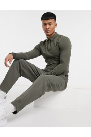 ASOS Smart co-ord tapered joggers in pique with fixed hem in deep khaki-Green