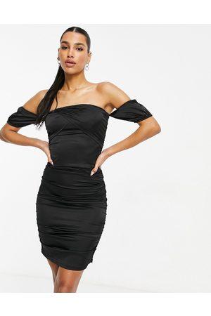 Parisian Satin off shoulder bodycon dress in black