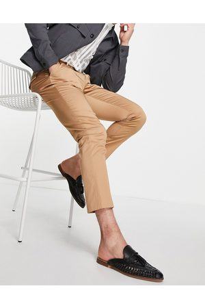 Devils Advocate Co-ord pleated slim fit trousers-Brown