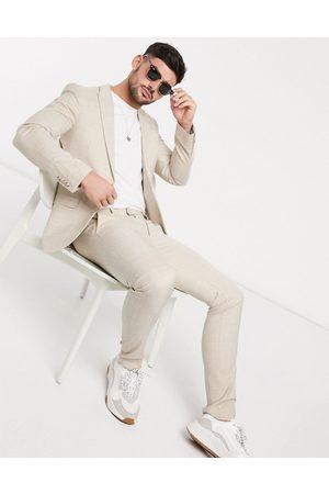 Topman Super skinny suit trouser in stone-Neutral