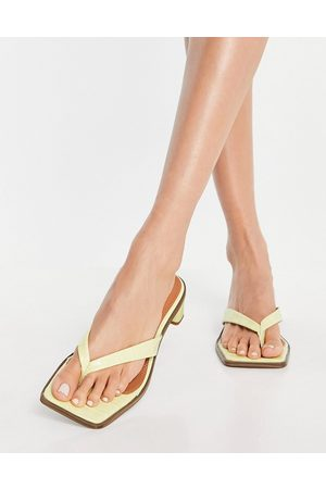 ASOS Hissy toe thong mid heeled sandals in lime-Green