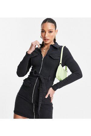Parisian Zip through denim dress in charcoal-Grey