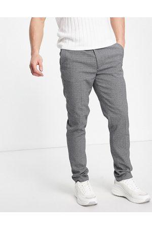 ASOS Super skinny smart trouser in grey micro texture-Black