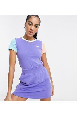 PUMA Downtown colourblock t-shirt in purple and orange - exclusive to ASOS-Blue