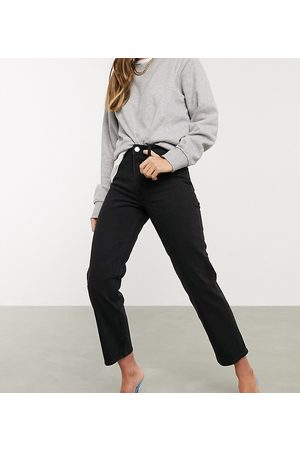 ASOS High rise stretch 'slim' straight leg jeans in black