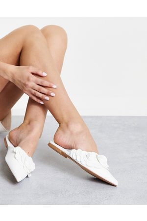 ASOS Larch 3D flowers pointed ballet mules in white