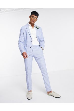 ASOS Skinny suit trousers with prince of wales check in blue