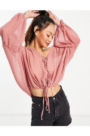 ASOS Long sleeve sheer dobby plunge top in dusty pink