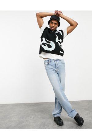 ASOS Straight leg jeans in vintage light wash-Blue