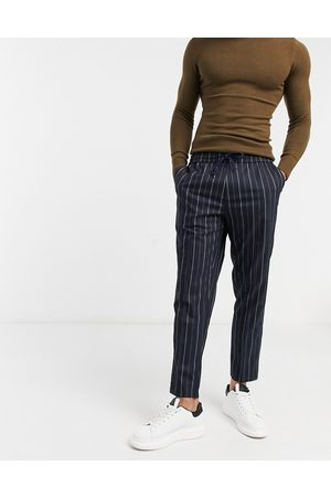 New Look Smart trousers with elasticated waist in navy pinstripe