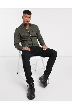 ASOS Skinny fit western denim shirt in khaki-Green