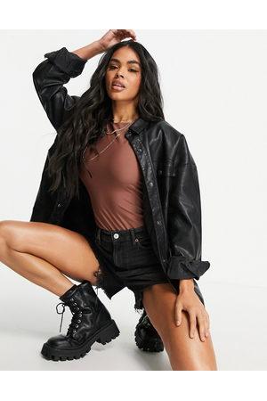 ASOS Matte disco t-shirt bodysuit in brown