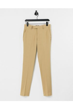 ASOS Wedding super skinny suit trousers in camel micro texture-Grey