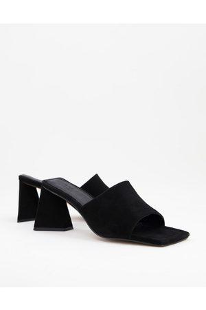 ASOS Healing premium suede mid heeled mules in black