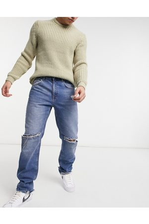 ASOS Original fit jeans in vintage mid wash with knee rips and destroyed hem-Blue