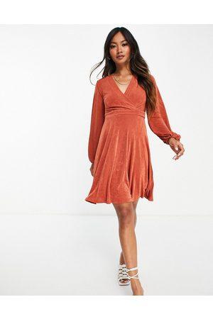 Closet Bell sleeve wrap mini dress in cinnamon-Brown