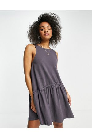 ASOS Sleeveless smock dress with v back in slate grey