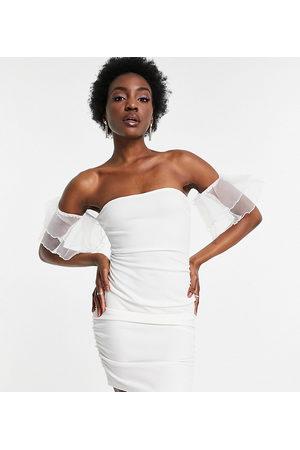 Parisian Dame Hverdagskjoler - Off shoulder organza sleeve mini dress in white