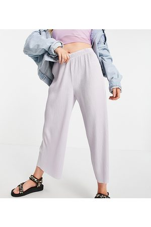 ASOS ASOS DESIGN Petite plisse culotte trouser in lavender blue
