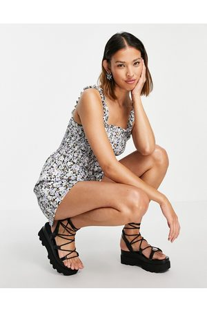 ONLY Shirred playsuit in black ditsy floral-Multi