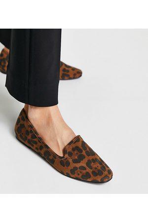 ASOS Wide Fit Lakeside slipper ballet flats in leopard-Multi